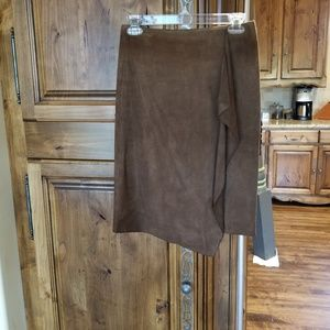 LAUNDRY Suede Carmel Brown Pencil Skirt
